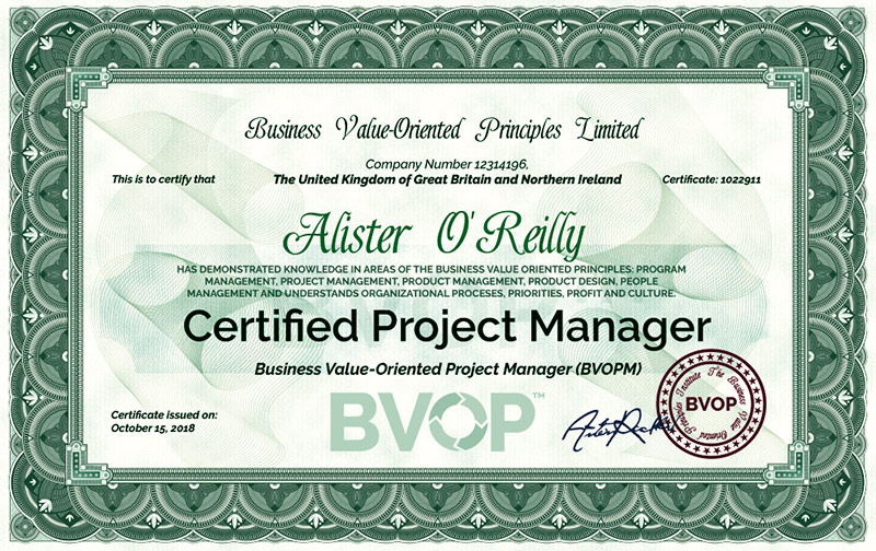 This is what the BVOP Certified Project Manager looks like